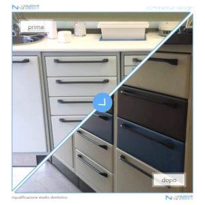 Progetto studio dentistico rivestimento cassetti