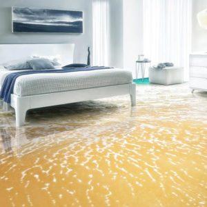 Pavimenti 3D in resina per camera da letto con bagnasciuga